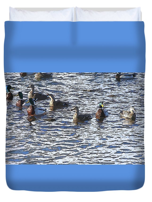 Ducks Duvet Cover featuring the painting Life's Song by Robert Nacke