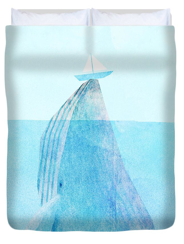 Whale Duvet Cover featuring the drawing Lift by Eric Fan