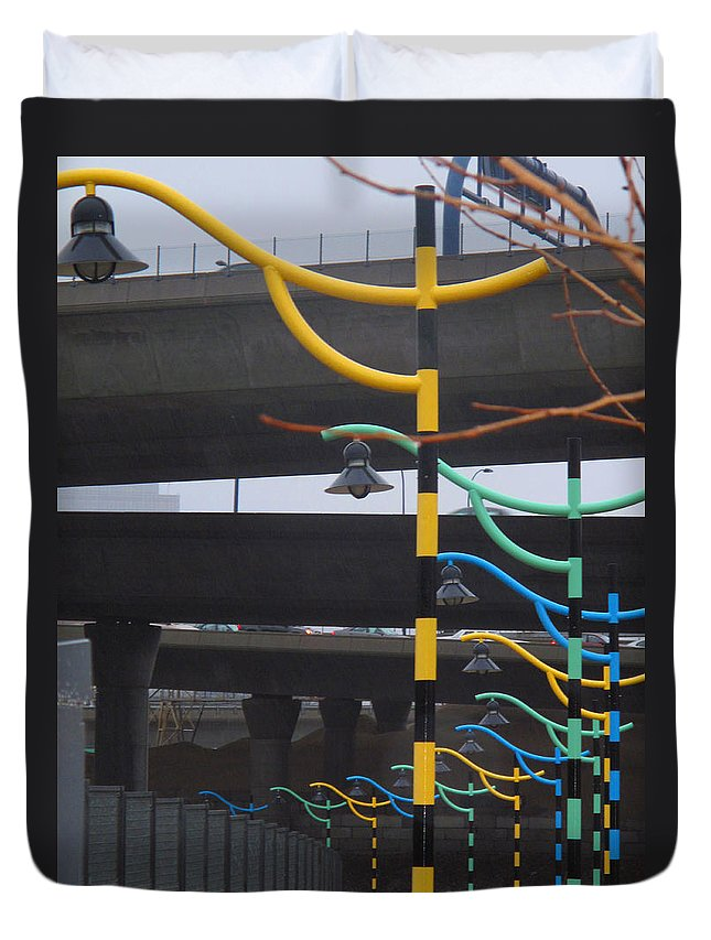 Street Light Duvet Cover featuring the photograph Light By Another Color by Barbara McDevitt