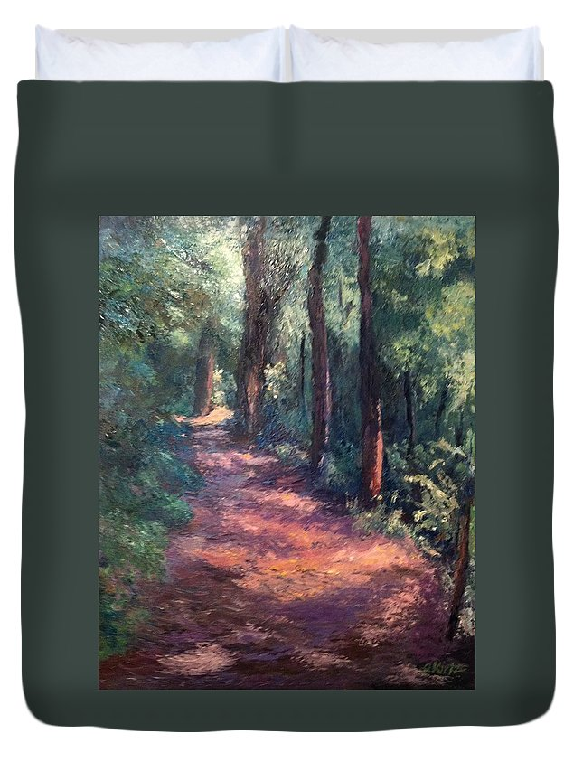 Nature Duvet Cover featuring the painting Light For My Path by Gail Kirtz