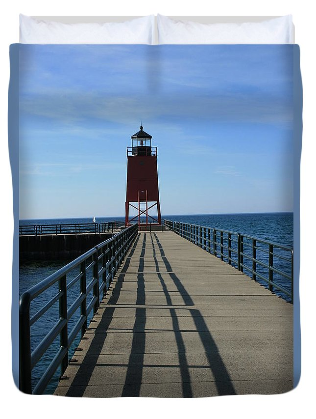 Lighthouse Duvet Cover featuring the photograph Light House In Charlevoix Mich by Kathy DesJardins