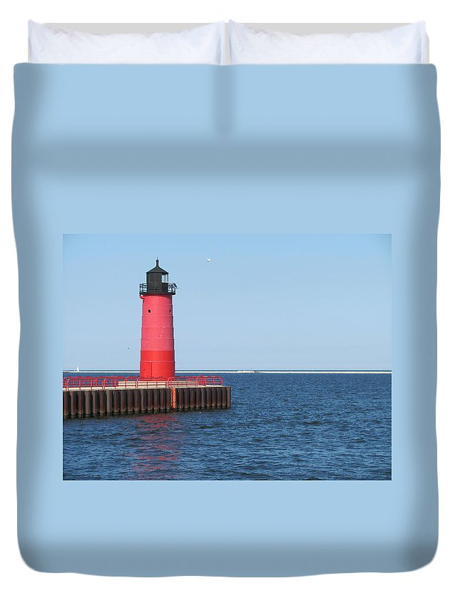 Light House Duvet Cover featuring the photograph Light House Lake Michigan by Anita Burgermeister