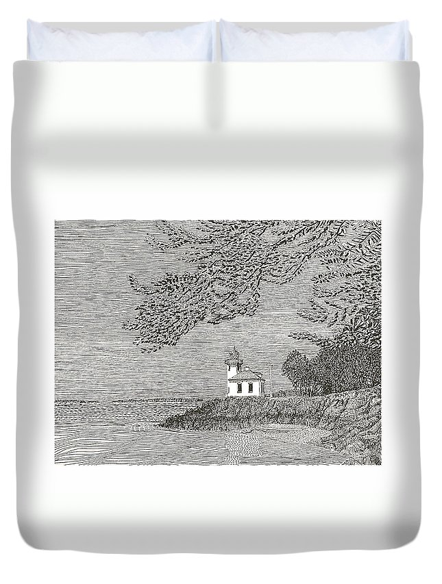 San Juan Islands Lime Point Lighthouse Duvet Cover featuring the drawing Light House On San Juan Island Lime Point Lighthouse by Jack Pumphrey