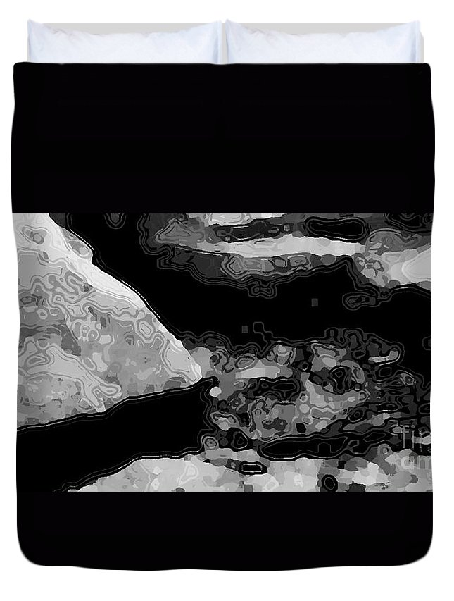 Landscape Duvet Cover featuring the digital art Light In The Stream Bw by Tim Richards