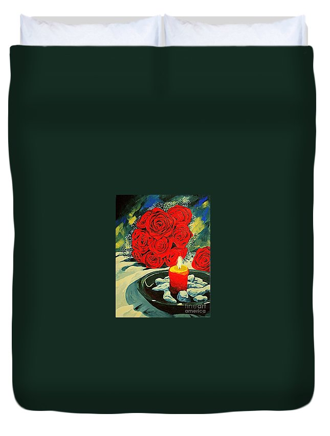 Roses Red Rose Candle Love Deep Red Rose Duvet Cover featuring the painting Light Of Love by Herschel Fall