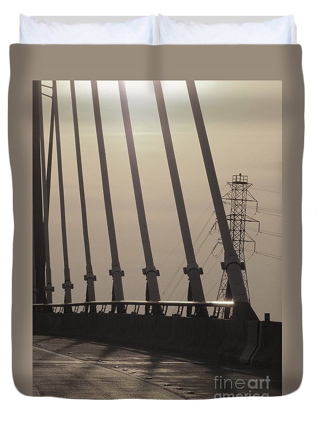 Black And White Duvet Cover featuring the photograph Light On The Bridge by Michelle Powell