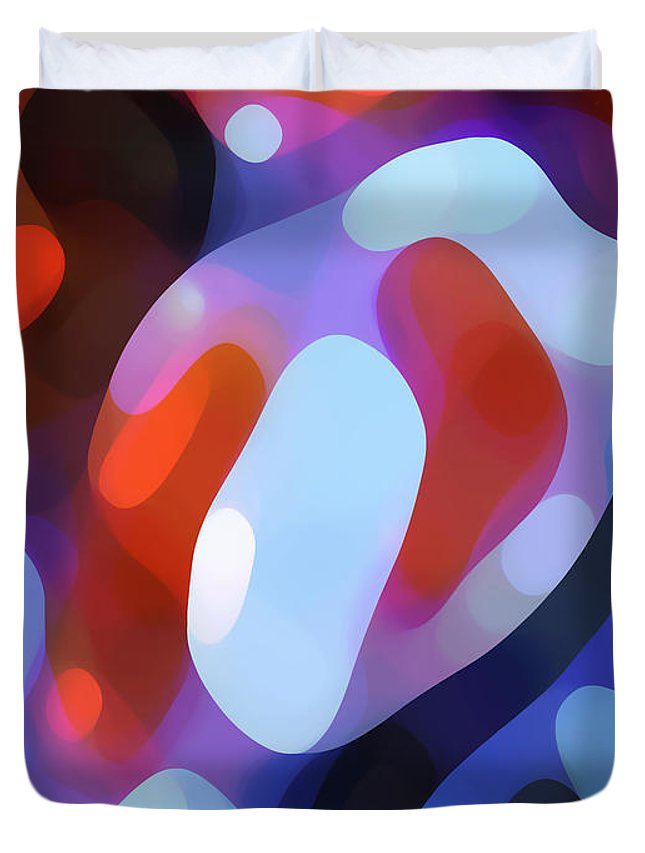 Abstract Duvet Cover featuring the painting Light Through Fall Leaves by Amy Vangsgard