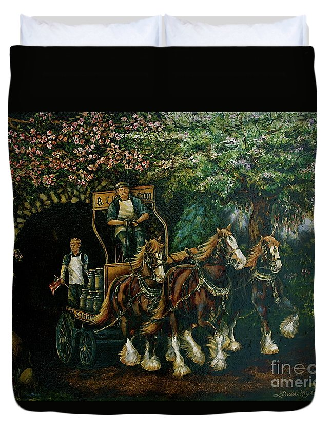 Duvet Cover featuring the painting Light Touch by Linda Simon