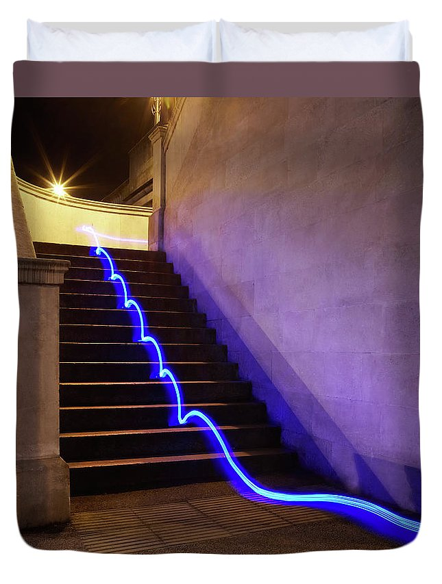 Steps Duvet Cover featuring the photograph Light Trail On Steps by Tim Robberts