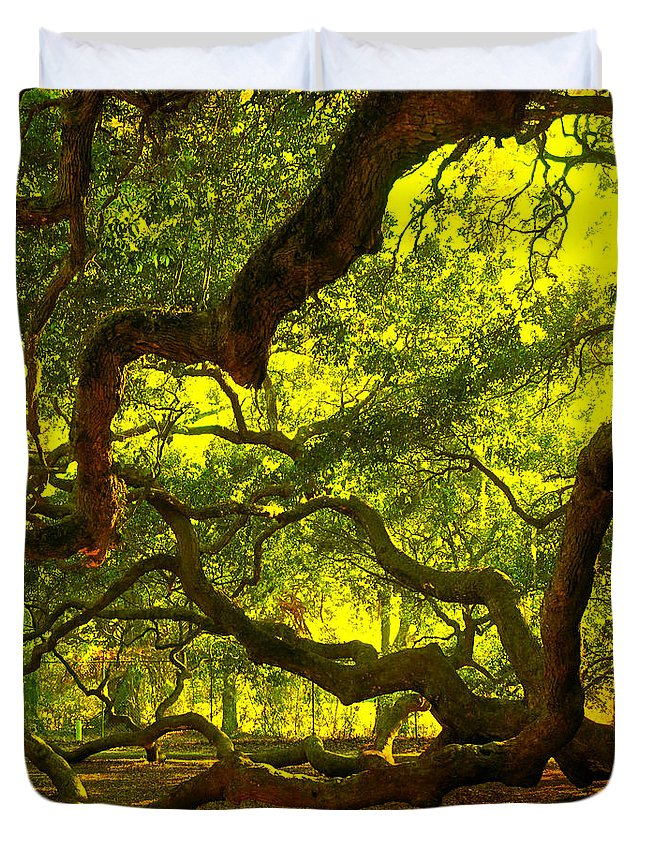 Angel Oak Duvet Cover featuring the photograph Lighter Version 40x40 by Susanne Van Hulst
