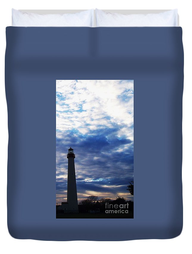 Lighthouse Duvet Cover featuring the photograph Lighthouse At Cape May Nj by Eric Schiabor