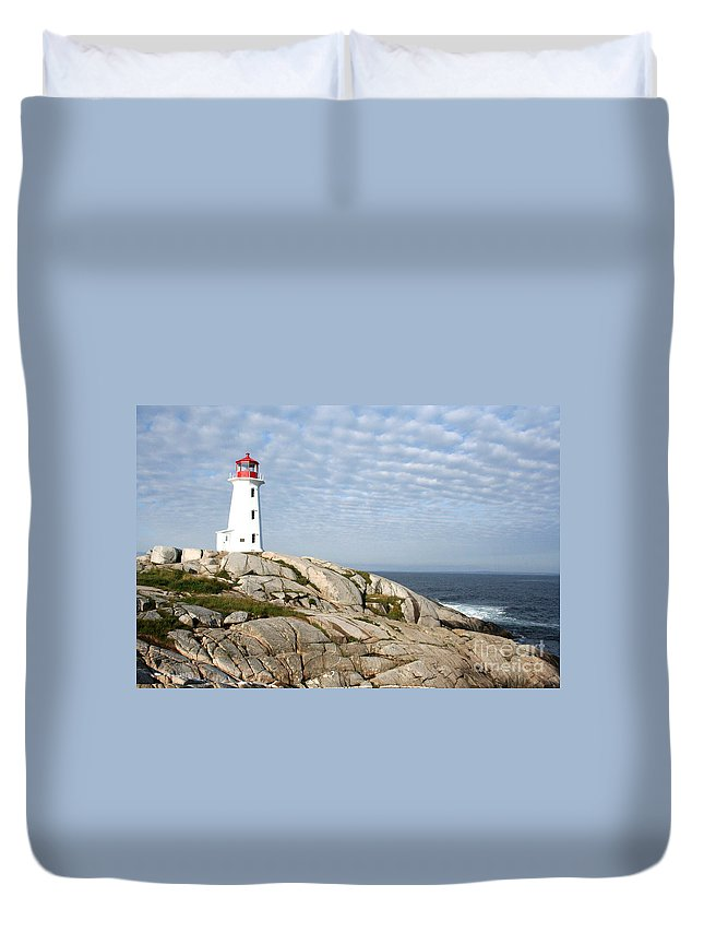 Lighthouse Duvet Cover featuring the photograph Lighthouse At Peggys Point Nova Scotia by Thomas Marchessault