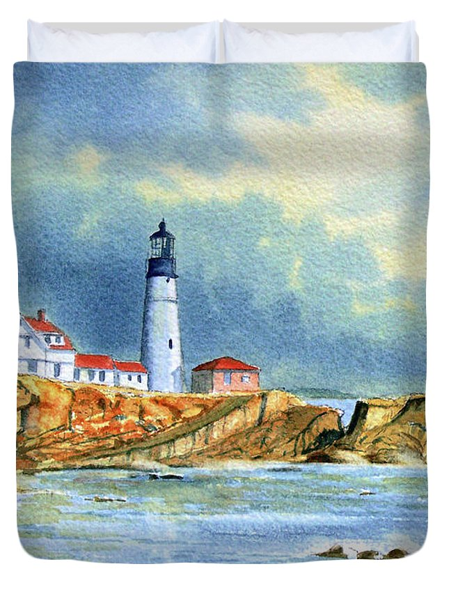 Lighthouse Duvet Cover featuring the painting Lighthouse At Portland Head Maine by Bill Holkham