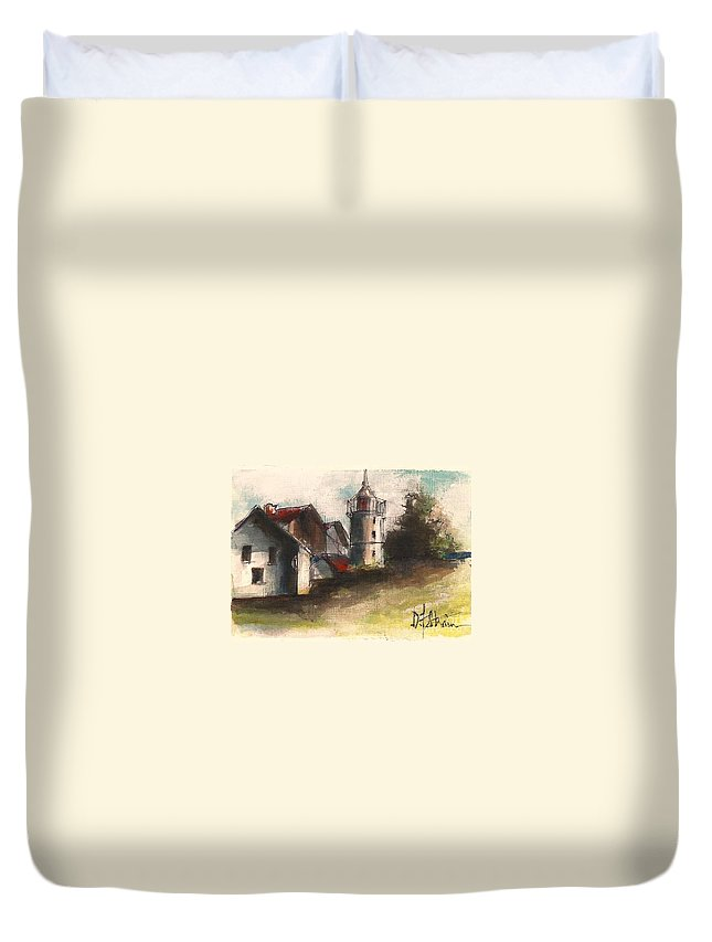 Seascape Duvet Cover featuring the painting Lighthouse By Day by Diane Strain