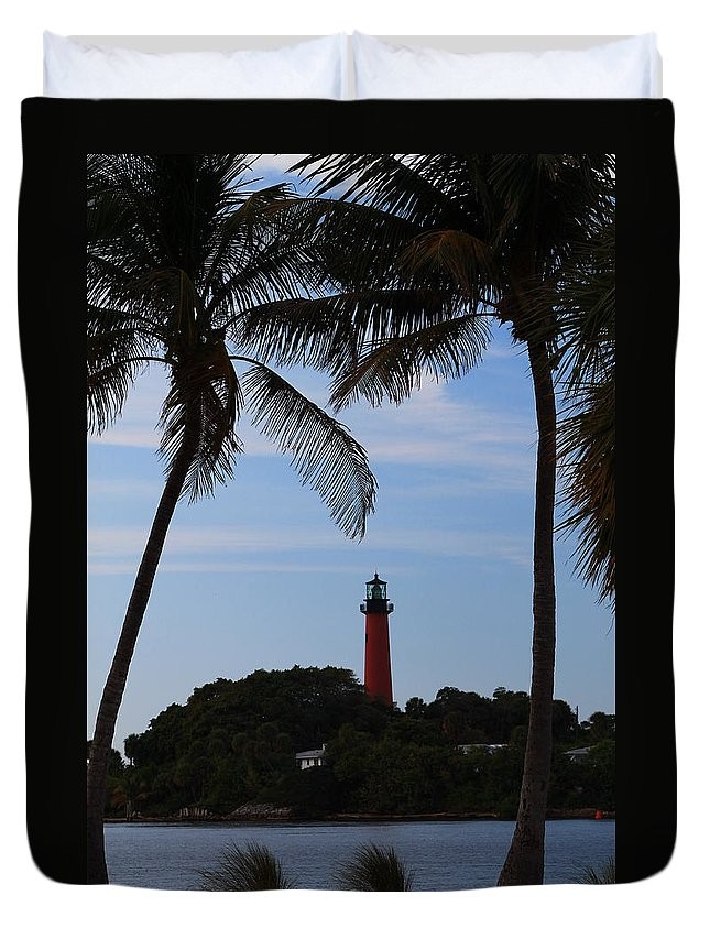 Jupiter Duvet Cover featuring the photograph Lighthouse From Afar by Catie Canetti