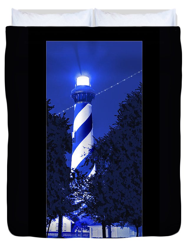 St. Augustine Lighthouse Duvet Cover featuring the photograph Lighthouse In Blue by Mike McGlothlen