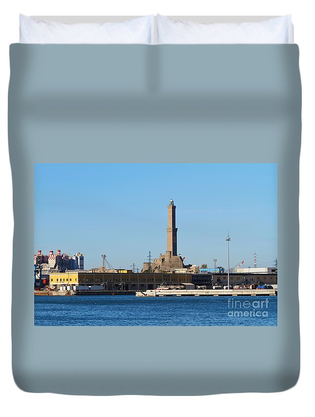 Architecture Duvet Cover featuring the photograph Lighthouse In Genova. Italy by Antonio Scarpi