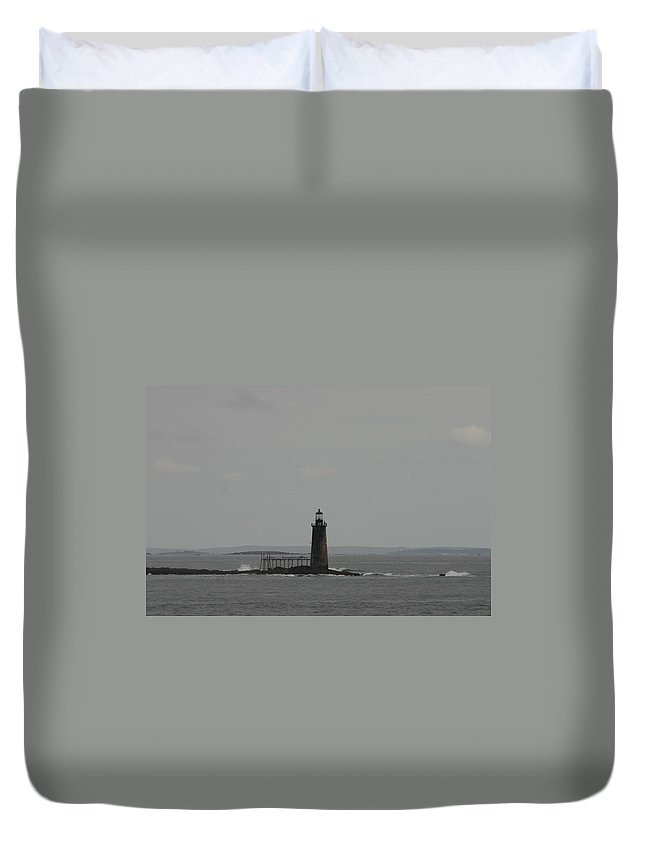 Lighthouse In The Distance Duvet Cover featuring the photograph Lighthouse In The Distance by Denyse Duhaime