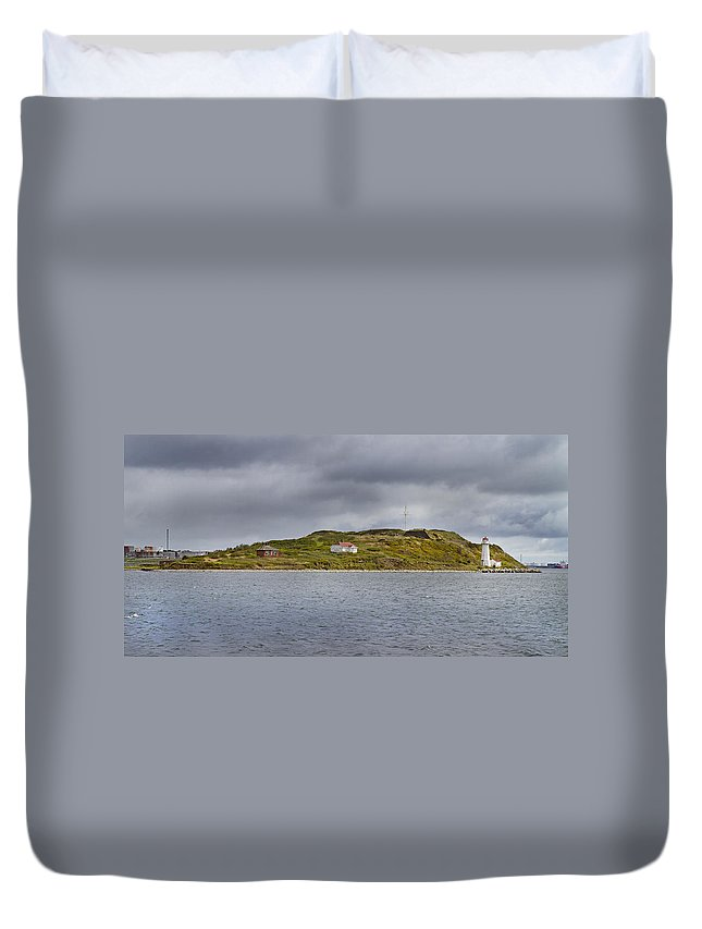 Lighthouse Duvet Cover featuring the photograph Lighthouse Island by Betsy Knapp