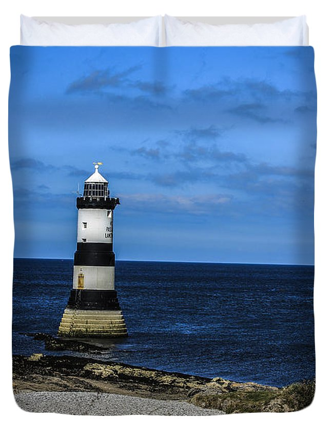 Wales Duvet Cover featuring the photograph Lighthouse Isle Of Anglessy Wales by Larry Pegram