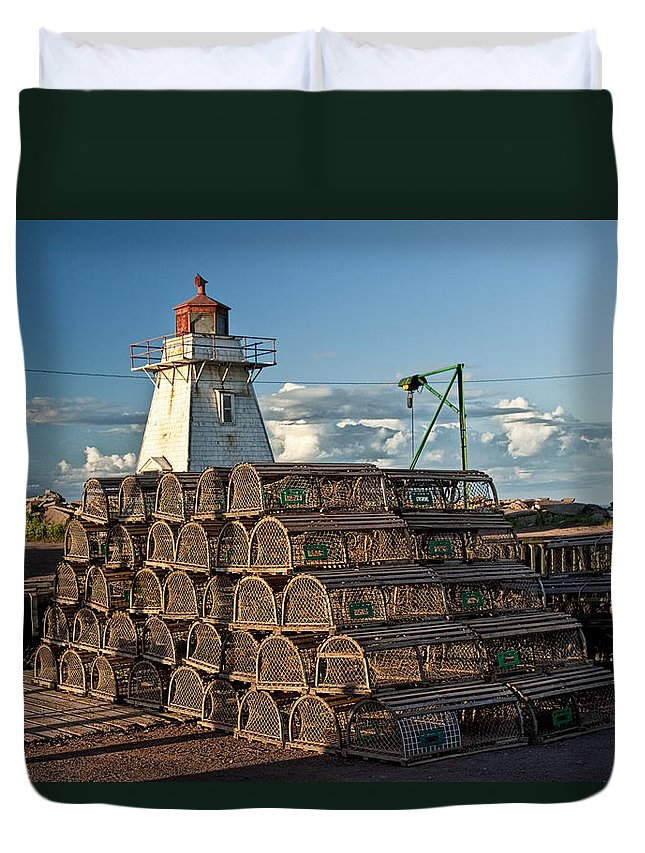 Art Duvet Cover featuring the photograph Lighthouse On A Channel By Cascumpec Bay On Prince Edward Island No. 094 by Randall Nyhof