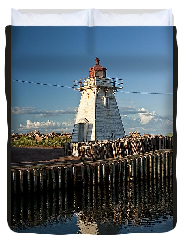 Art Duvet Cover featuring the photograph Lighthouse On A Channel By Cascumpec Bay On Prince Edward Island No. 095 by Randall Nyhof