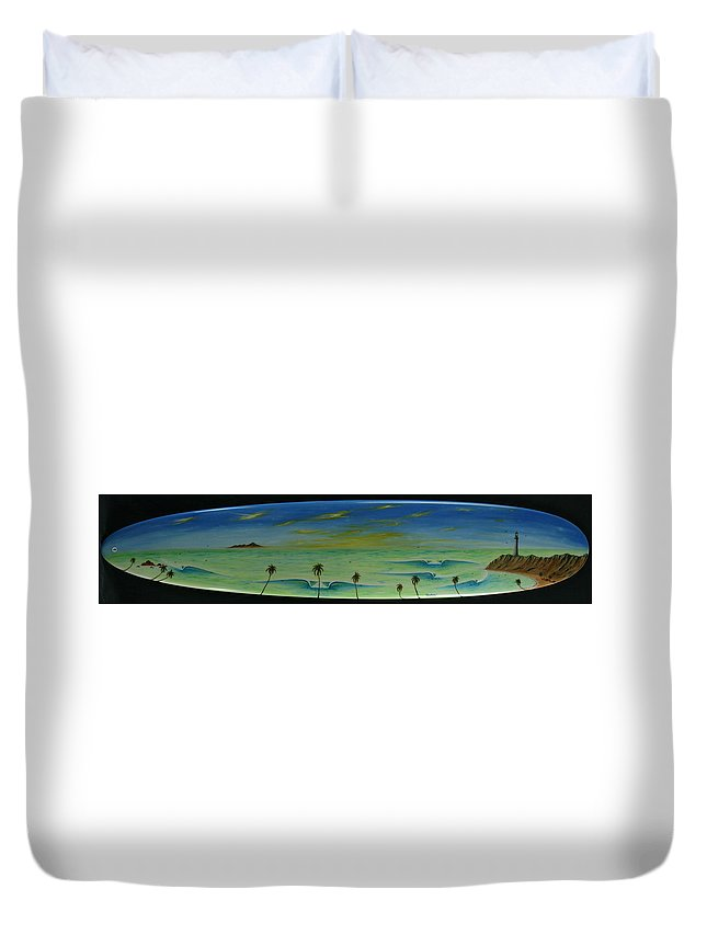Lighthousepaintingprint Duvet Cover featuring the painting Lighthouse Surfers Cove by Paul Carter