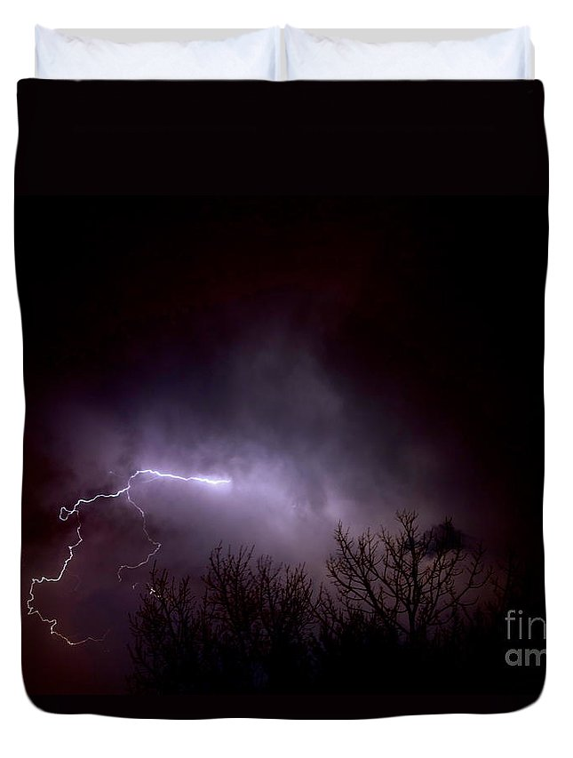 Light Duvet Cover featuring the photograph Lightning 2 by Jacqueline Athmann