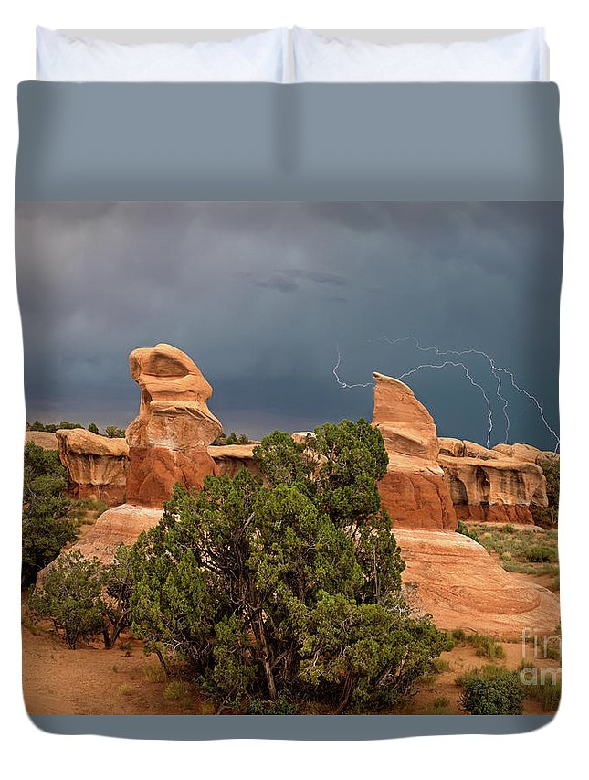 North America Duvet Cover featuring the photograph Lightning Devils Garden Escalante Grand Staircase Nm Utah by Dave Welling