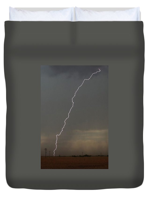 Lightning Duvet Cover featuring the photograph Lightning Strike In Texas by Ed Sweeney
