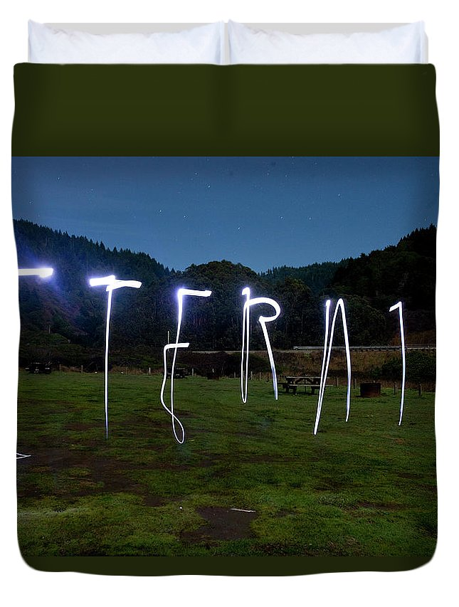 California Duvet Cover featuring the photograph Lightpainting Image Spelling The Word by Woods Wheatcroft