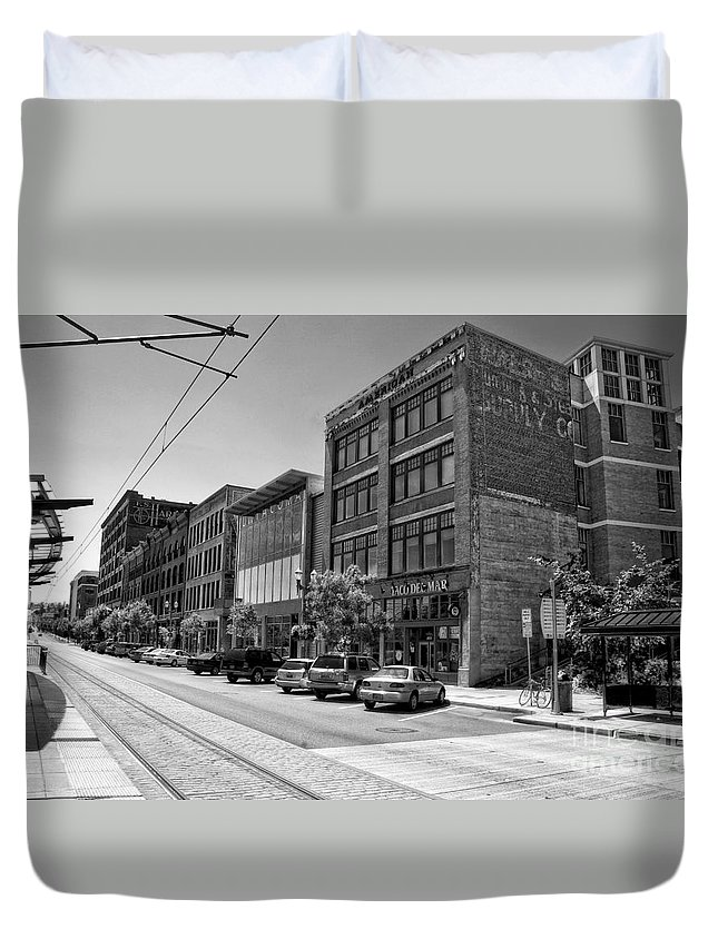 Light Rail Duvet Cover featuring the photograph Light Rail Line And Old Downtown Buildings_bwhdr by Tom Gilbrough
