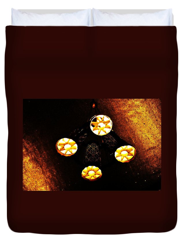 Hanging Lights Duvet Cover featuring the photograph Lights From Above by Gregory Strong