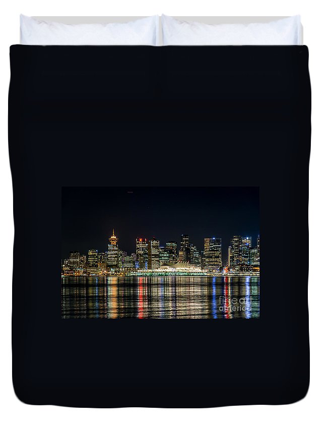 Harbour Duvet Cover featuring the photograph Lights Of Vancouver by Sabine Edrissi