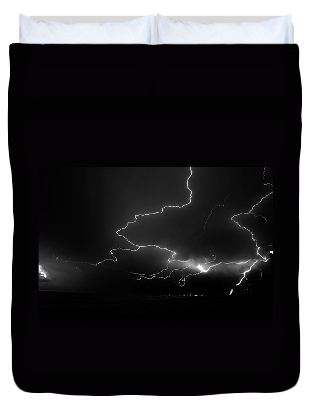Fine Art Photography Duvet Cover featuring the photograph Lights Over The Gulf by David Lee Thompson