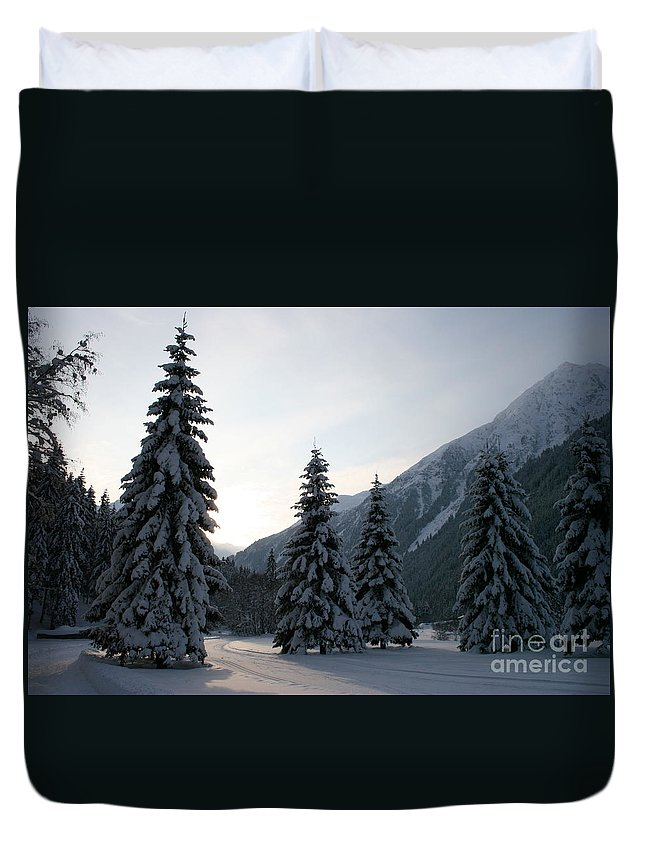 Snow Duvet Cover featuring the photograph Like Powdered Sugar by Christiane Schulze Art And Photography