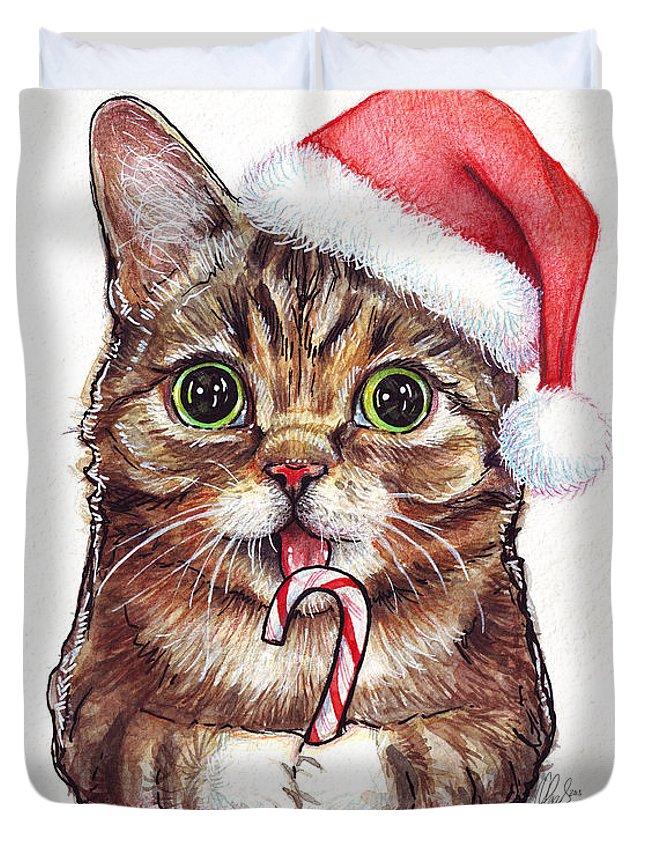 Lil Bub Duvet Cover featuring the painting Cat Santa Christmas Animal by Olga Shvartsur