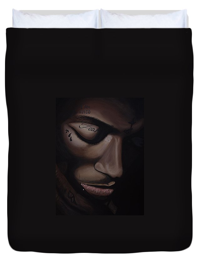 Hip Hop Duvet Cover featuring the painting Lil Wayne by Dean Stephens
