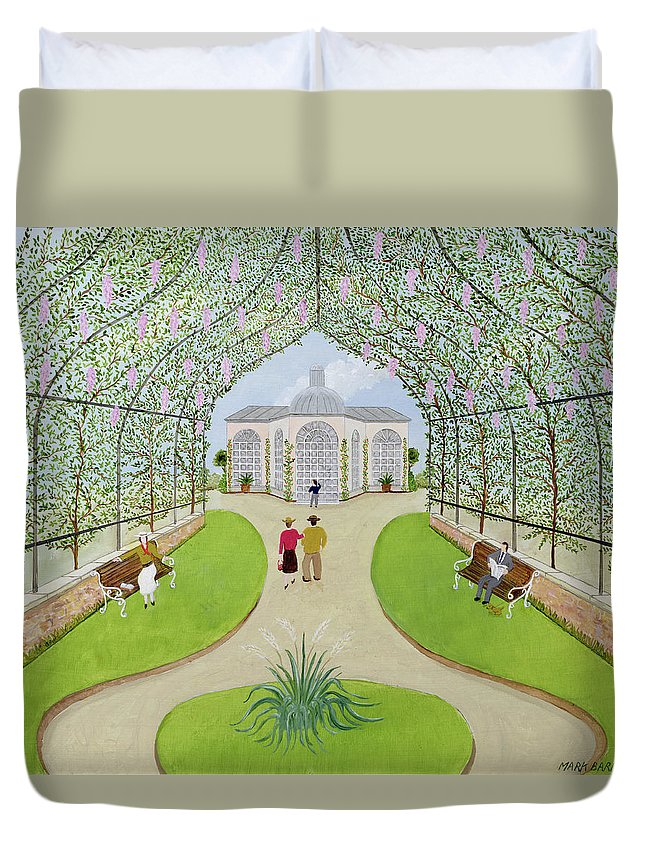 Landscape Duvet Cover featuring the photograph Lilac Arbour Oil On Board by Mark Baring
