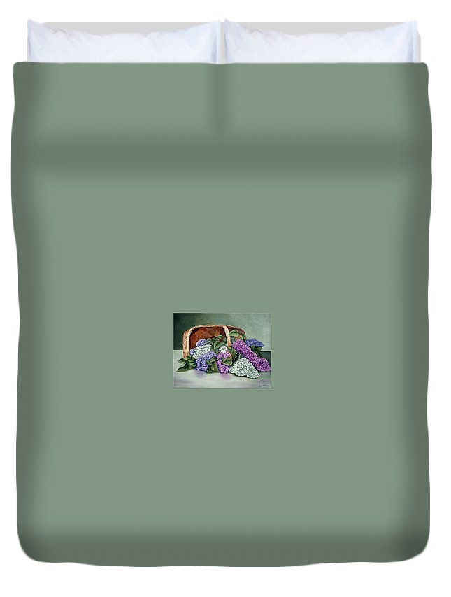 Lilac Duvet Cover featuring the painting Lilac Basket by Fran Brooks