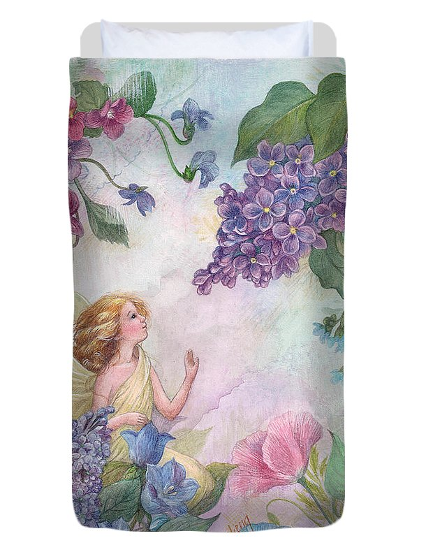 Enchanting Duvet Cover featuring the painting Lilac Enchanting Flower Fairy by Judith Cheng