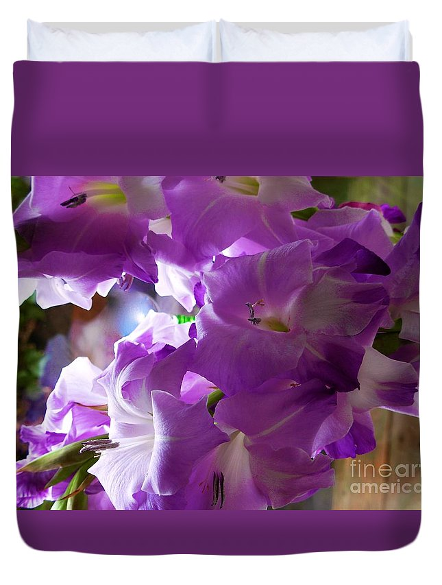 Lilac Flowers Duvet Cover featuring the photograph Lilac Flowers by Joan-Violet Stretch