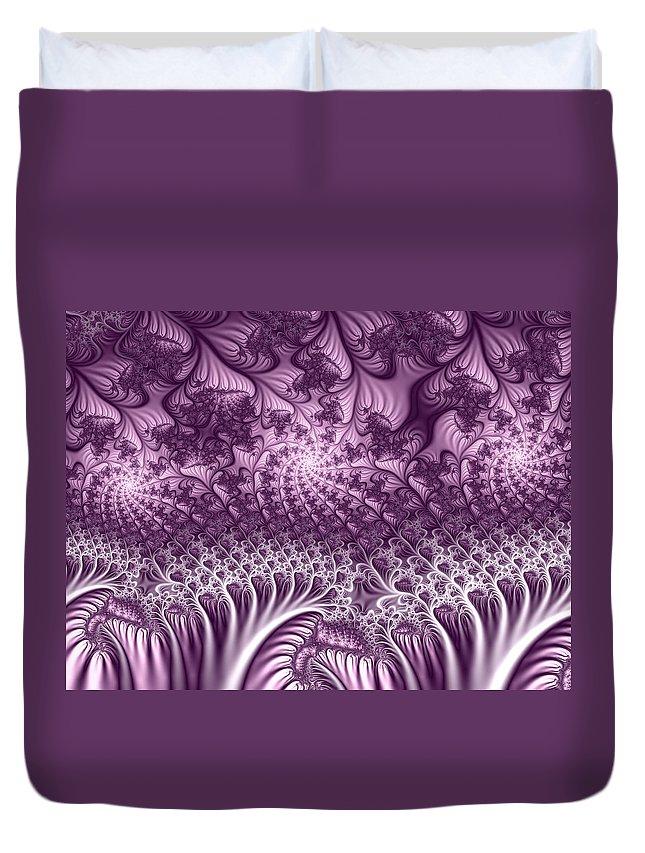 Fractal Duvet Cover featuring the digital art Lilac Fractal World by Gabiw Art