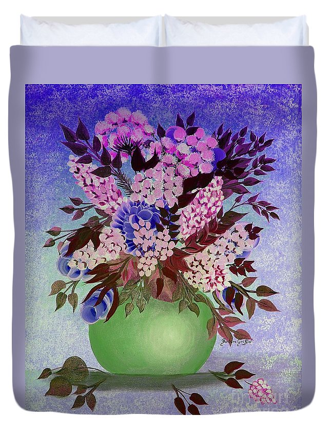 Lilacs And Queen Anne's Lace In Pink And Purple Duvet Cover featuring the painting Lilacs And Queen Anne's Lace In Pink And Purple by Barbara Griffin