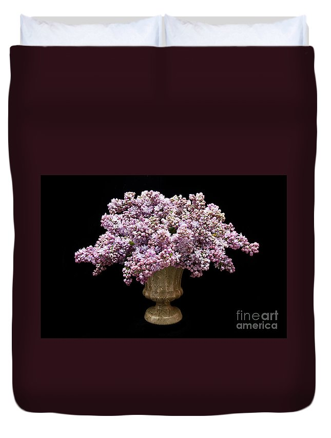 Lilac Duvet Cover featuring the photograph Lilacs In A Green Vase - Flowers - Spring Bouquet by Andee Design