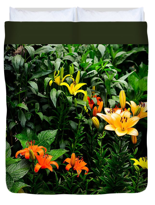 Flower Duvet Cover featuring the photograph Lilies by Marco Oliveira