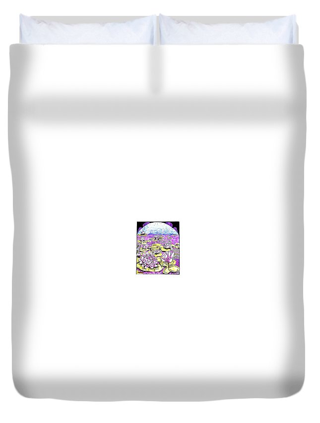 Lilies Of The Lake Duvet Cover featuring the drawing Lilies Of The Lake by Seth Weaver