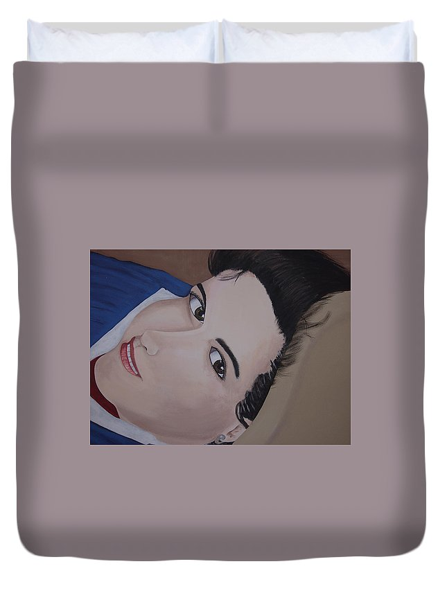 Portrait Duvet Cover featuring the painting Lilly by Dean Stephens