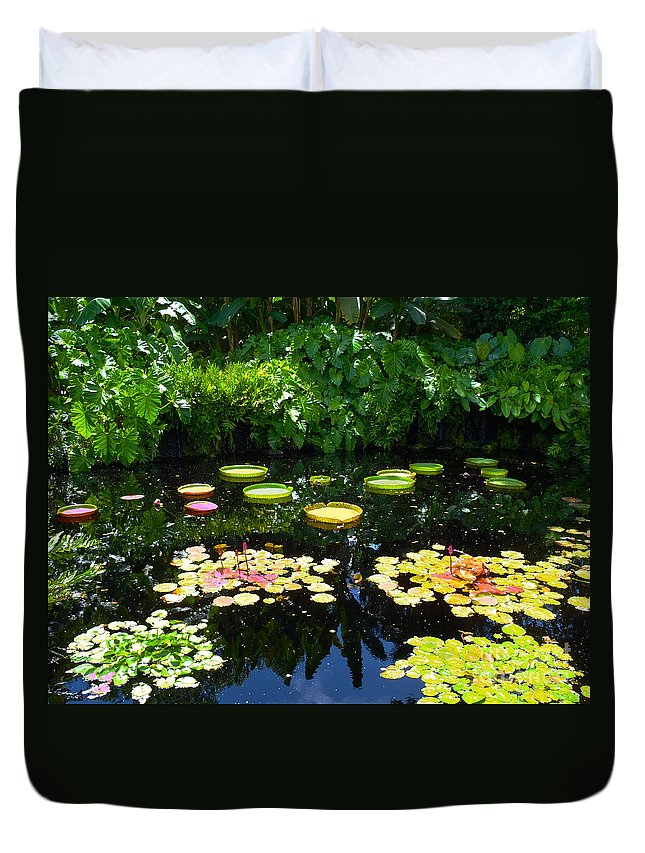 Garden Duvet Cover featuring the photograph Lilly Garden by Carey Chen