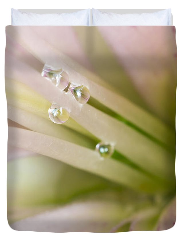 Filament Duvet Cover featuring the photograph Lily And Raindrops by Melanie Viola